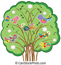 Birds on the tree, vector..