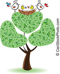 Birds on the tree with nestlings. Vector illustration
