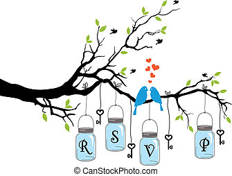 birds on tree with jars, vector - RSVP, wedding invitation ...