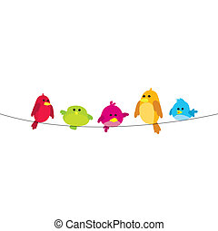 birds on wire - five colorful birds on wire with white...