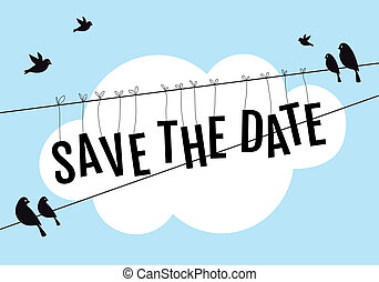 save the date, birds sitting on wire in blue sky, vector background illustration