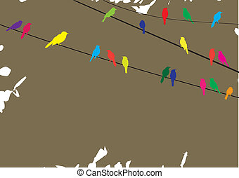 Birds on wire - Vector illustration of birds on wire