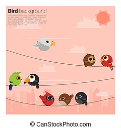 birds on wires background