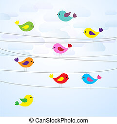 birds on wires - Cute colorful birds on wires