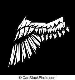 Birds or angelic wing. Stylized black and white...