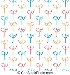 Birds Pastel Colored Simple Seamless Pattern on White Background