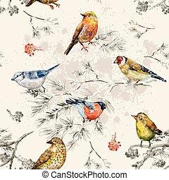 birds., peu, vendange, seamless, texture, tableau aquarelle