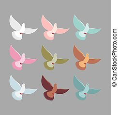 birds., pigeons., set, colorito, soars, colorare, volare, wingspan., colomba