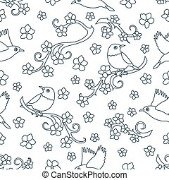 birds., rami, sakura, seamless, modello