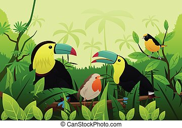 Birds Resting on Branches of Tree - A vector illustration of...