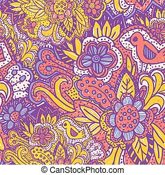 birds., roze, paarse , doodle, ornament., seamless, gele, helder, vector, model, bloemen