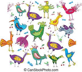 birds., schattig, kleurrijke