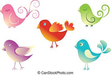 birds., schattig, set