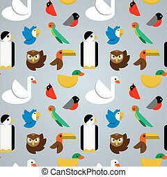 Birds seamless pattern - Seamless pattern with various...