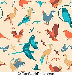 Birds seamless pattern. Vector flat style. Vector...
