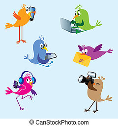 Birds - set 2 - Six cute colorful birds using electronic...