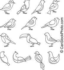 Birds set - A set of sketches of birds. Vector illustration.