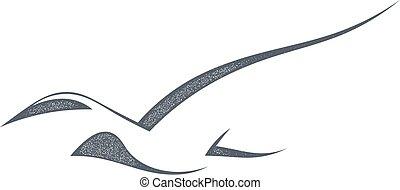 birds., silhouette, illustration., isolato, autunno, fondo., vettore, nero, migrazione, uccello bianco, casato