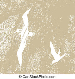 birds silhouette on brown background, vector illustration