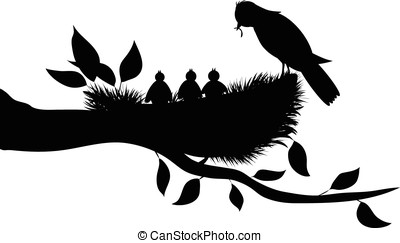 birds silhouette - vector, silhouette of bird perched on...