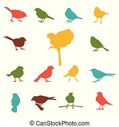 birds., silhouettes, ensemble