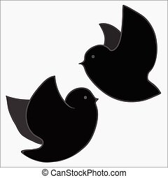 Birds silhouettes - flying.