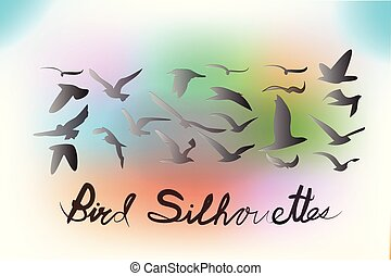 Birds silhouettes vector icon