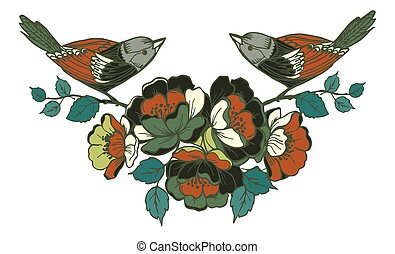 Birds sitting on a branch with flowers.Vector