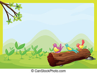 Birds sitting on a dry wood - illustration of birds sitting...