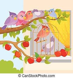 Birds Sitting On Branch