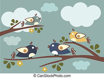 Birds sitting on tree branches. Vector Illustration, sunny...