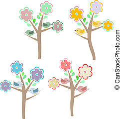 Birds sitting on trees. Four seasons - spring, summer, autumn, winter