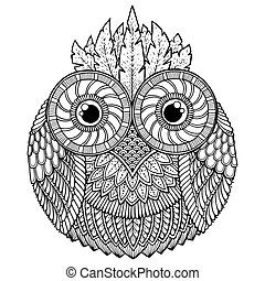 Birds theme. Owl black and white mandala with abstract ethnic aztec ornament pattern. Owl background. Owl tattoo.
