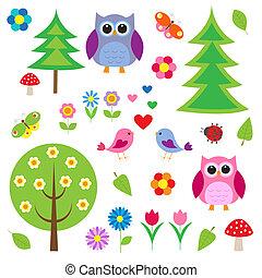 Birds, tress and owls. Vector set
