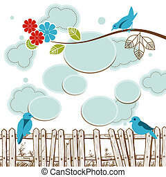 Birds tweeting social media concept with clouds speech bubbles