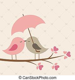 Birds under umbrella. Romantic vector card
