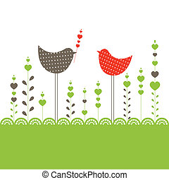 birds., vector, achtergrond, illustratie