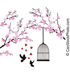Birds - vector cherry branches with bird cage and doves