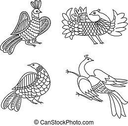 birds vector graphic ornament