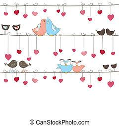 birds., vektor, baggrund, illustration