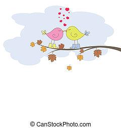 birds., vektor, romantische , karte