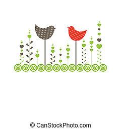 birds., vetorial, fundo, ilustração