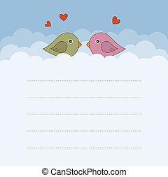 birds., vettore, due, illustration.