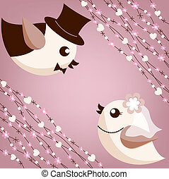 Bird's wedding on the lilac background
