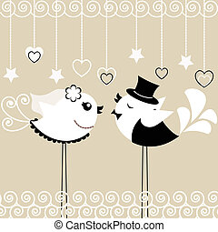 Bird's wedding - Two birds: the bride and groom on a gray...