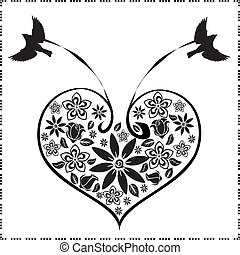 birds with a heart of flowers 3 - A vector illustration in ...