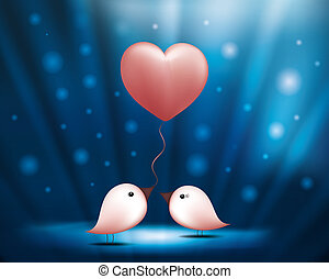 Birds with balloon heart. Valentine's day blue background