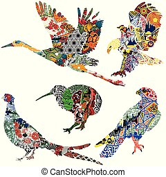 birds with ethnic ornaments
