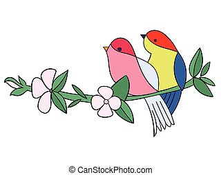 Birds with flowers tattoo stencil color vector