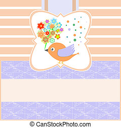 birds with greeting flowers card blank Vector